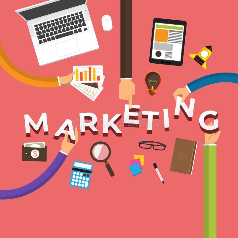 De vlakke hand van het ontwerpconcept leidt tot marketing Vector graphhics royalty-vrije illustratie