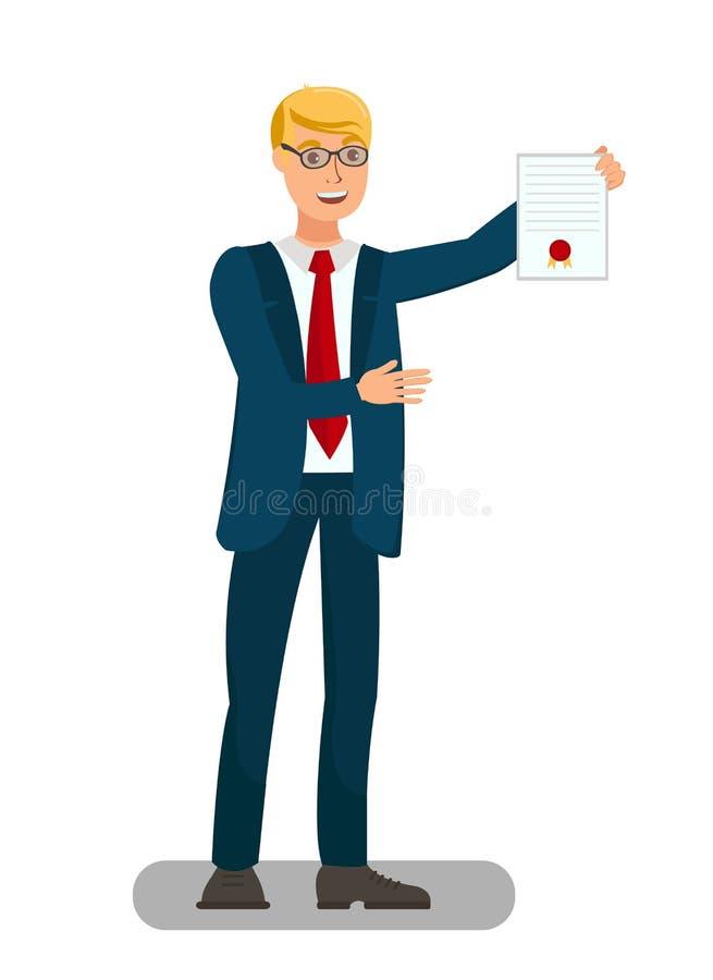 De Vlakke Illustratie van advocaatshowing sealed document vector illustratie