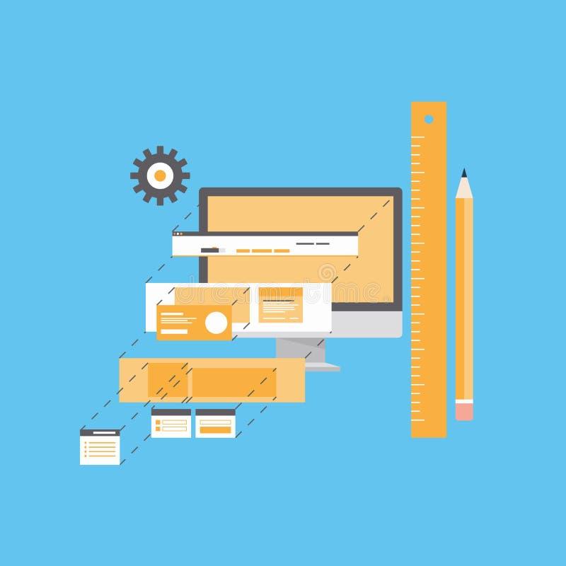 De vlakke illustratie van de websiteontwikkeling stock illustratie