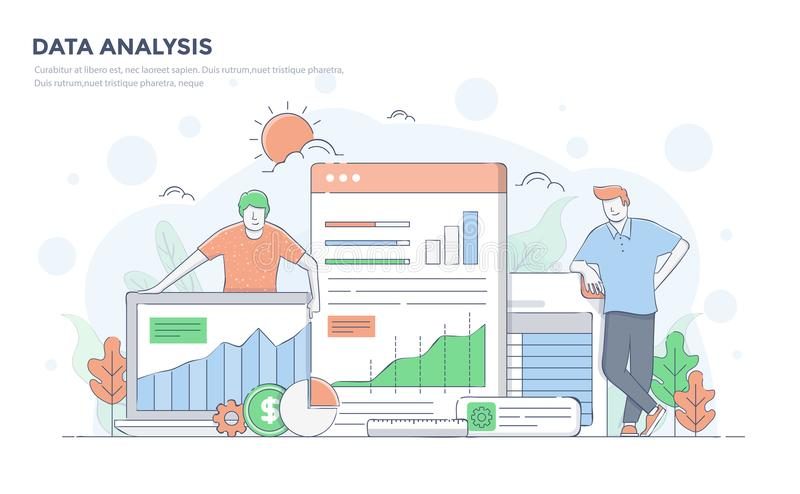 De vlakke Illustratie van het Lijn Moderne Concept - Gegevensanalyse vector illustratie