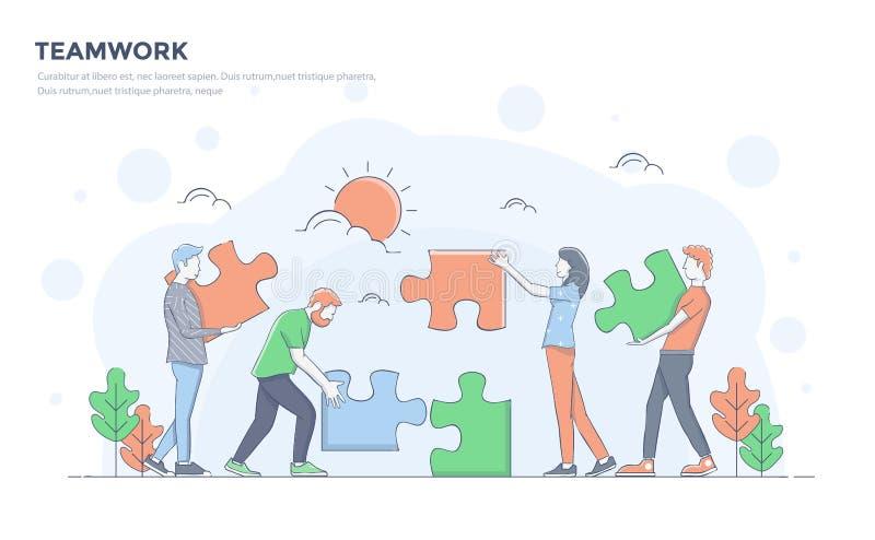 De vlakke Illustratie van het Lijn Moderne Concept - Groepswerk stock illustratie