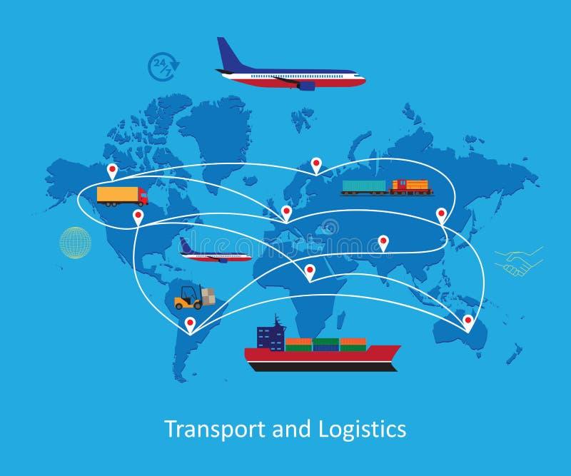 De vlakke illustratie van het logistiekconcept stock afbeelding