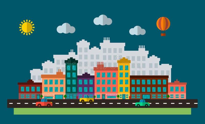 De vlakke illustratie van het ontwerp stedelijke landschap vector illustratie