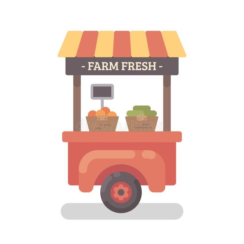 De vlakke illustratie van de landbouwbedrijftribune De tribune van de landbouwersmarkt stock illustratie
