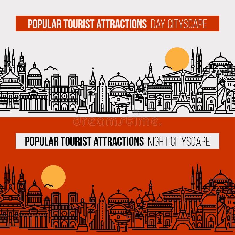 De vlakke illustratie van de lijnstijl van cityscape met populairste de toeristenplaatsen van de wereld Moderne vector naadloze a vector illustratie
