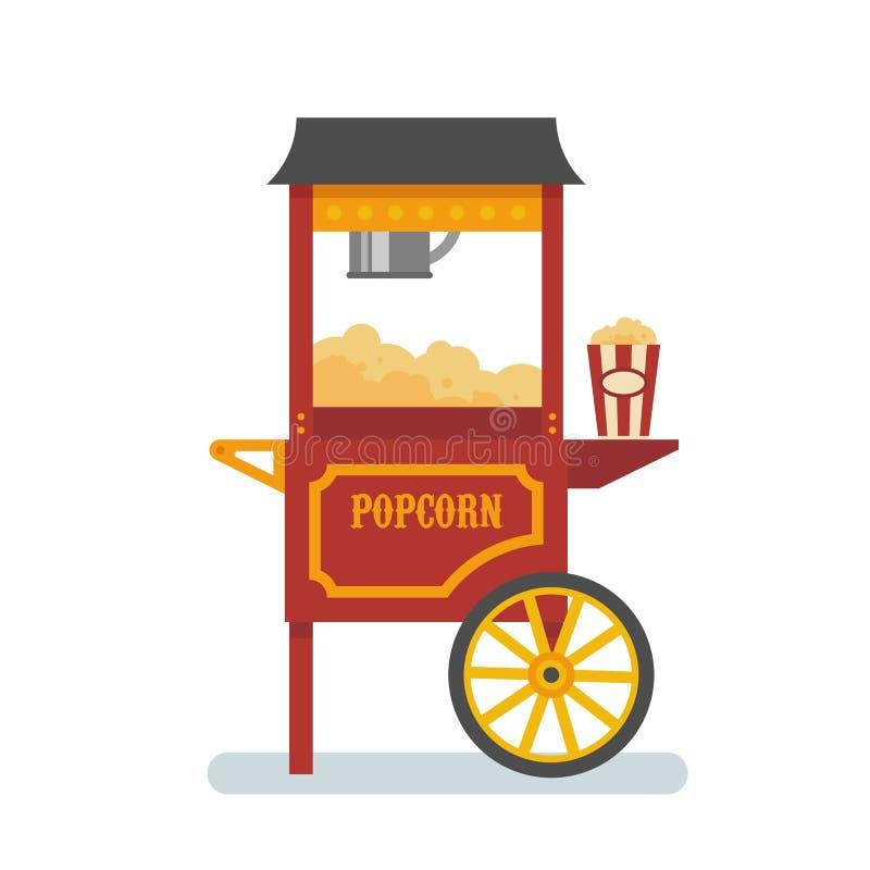 De vlakke illustratie van de popcornmachine vector illustratie
