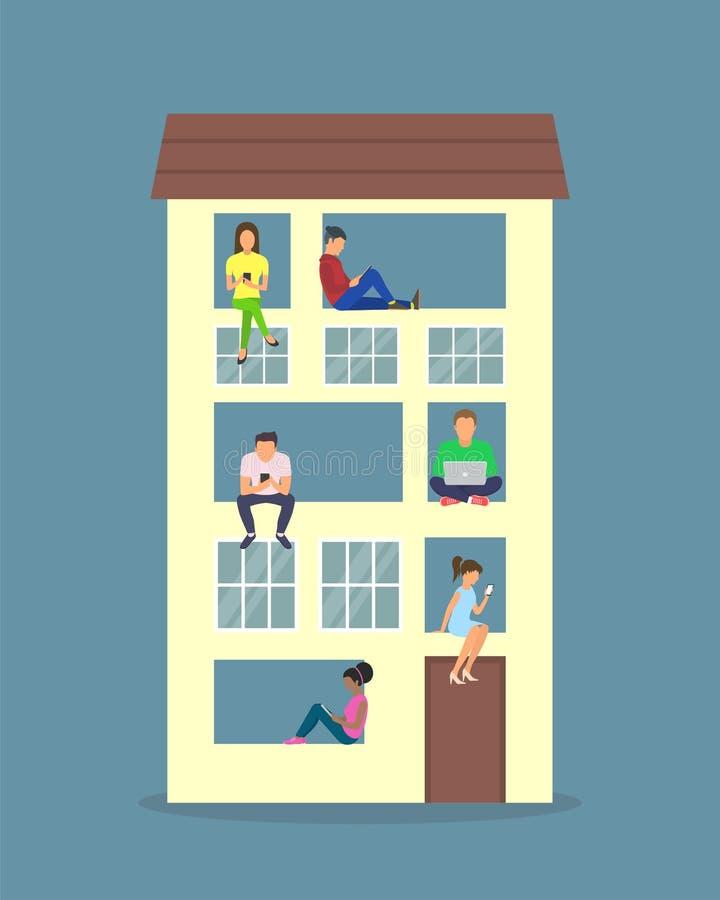 De vlakke illustratie van vrouw en man thuis het ontspannen, het gebruiken van laptop en het typen becommentarieert in gemeenscha royalty-vrije illustratie