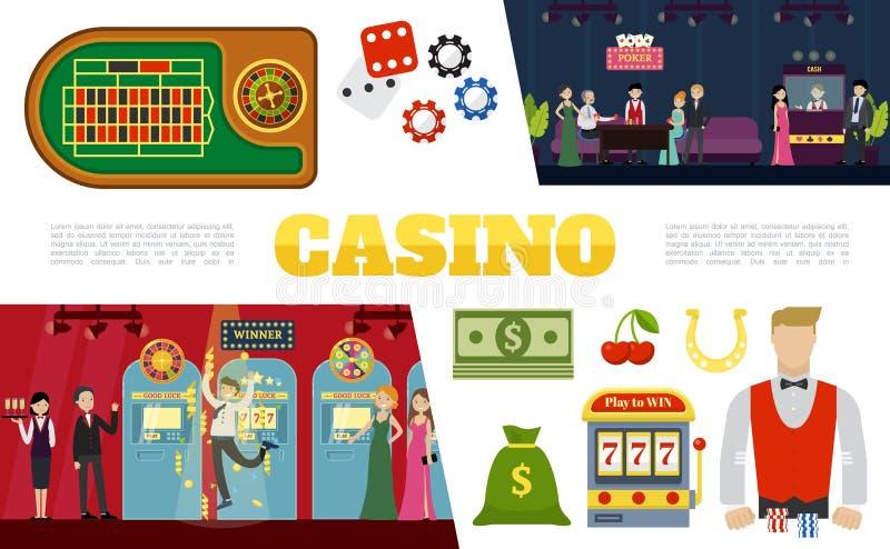 De vlakke Inzameling van Casinoelementen vector illustratie