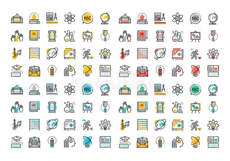 De vlakke inzameling van lijn kleurrijke pictogrammen van onderwijs