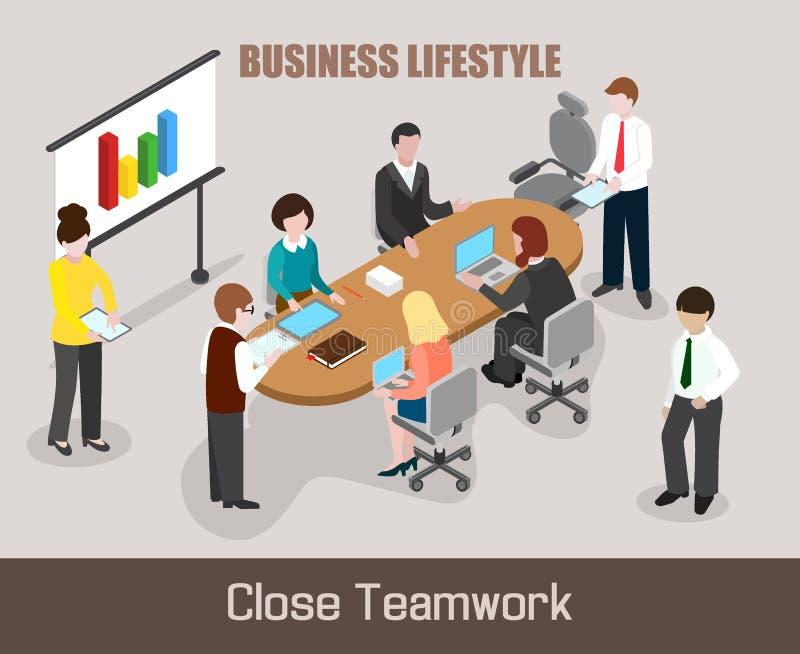 De vlakke isometrische Bedrijfsmensen bespreken project vector illustratie