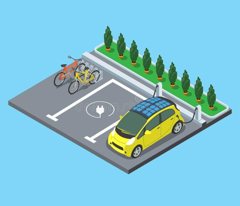De vlakke isometrische elektroauto's van de Parkerenfiets stock illustratie