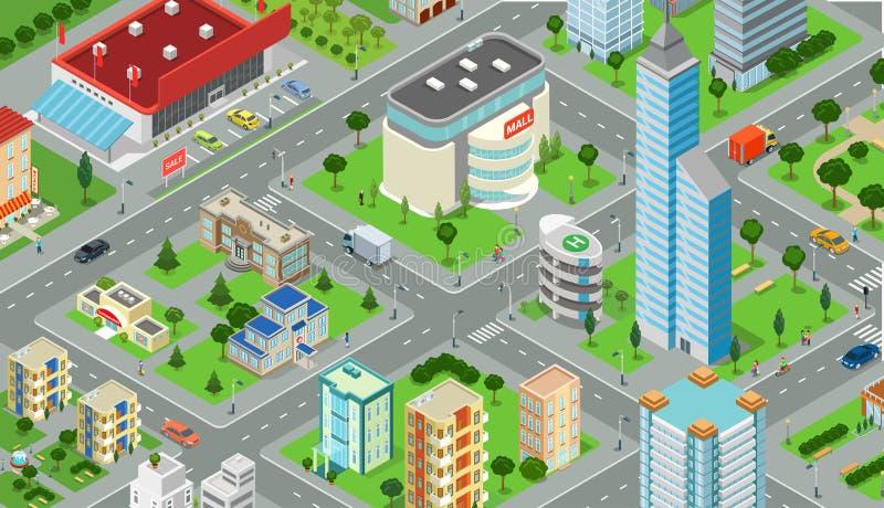 De vlakke isometrische modelvector van de stadsweg 3d bouw royalty-vrije illustratie