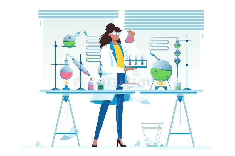De vlakke jonge chemicus van de schoonheidsvrouw met flessen met vloeistof royalty-vrije illustratie