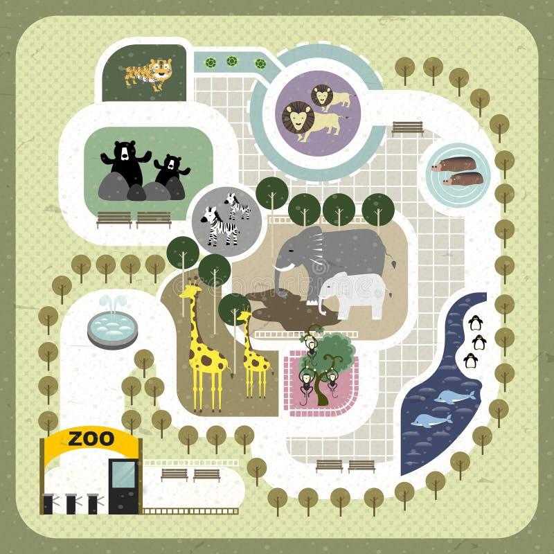 De vlakke kaart van de ontwerpdierentuin vector illustratie