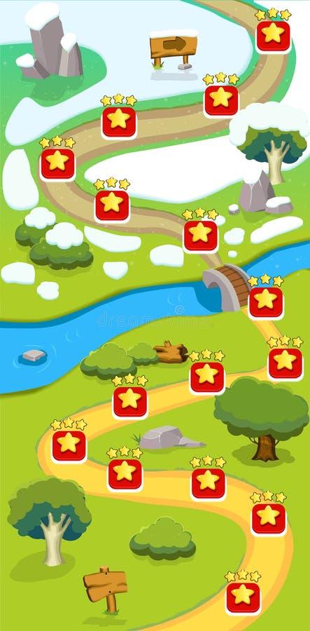 De Vlakke Kaartmalplaatje van het beeldverhaalspel vector illustratie