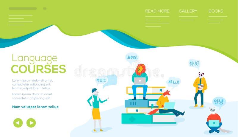 De vlakke karakters bestuderen vreemde talen in cursussen stock illustratie