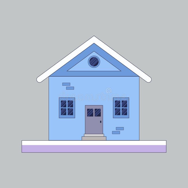 De vlakke, kleine illustratie van het de winterhuis Behandeld door sneeuw vector illustratie
