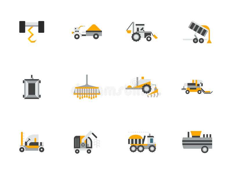 De vlakke kleurenontwerp pictogrammen van de landbouwmachines vector illustratie