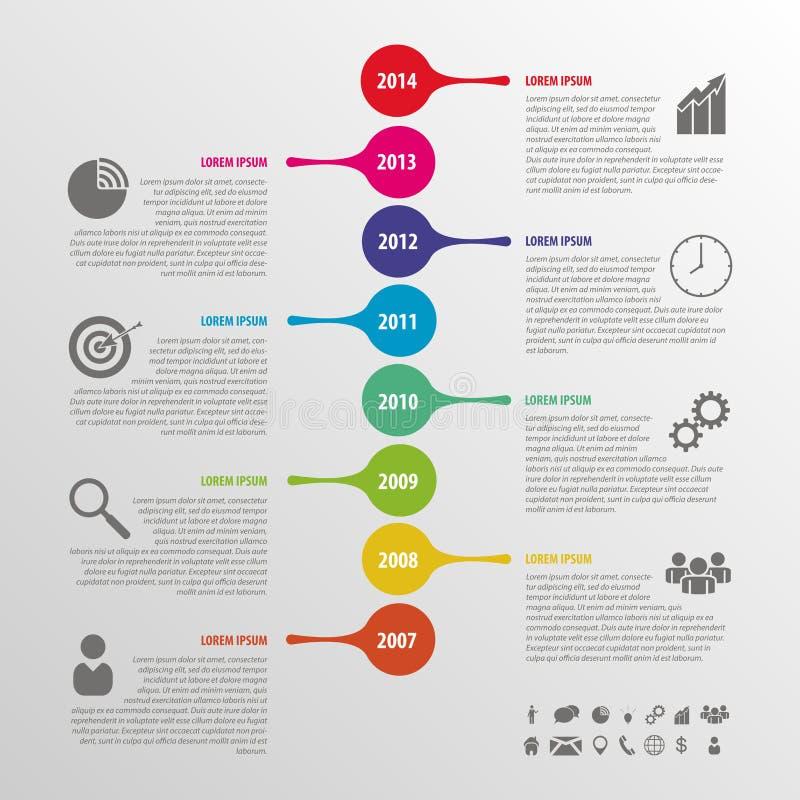 De vlakke kleurrijke abstracte vector van chronologieinfographics royalty-vrije illustratie