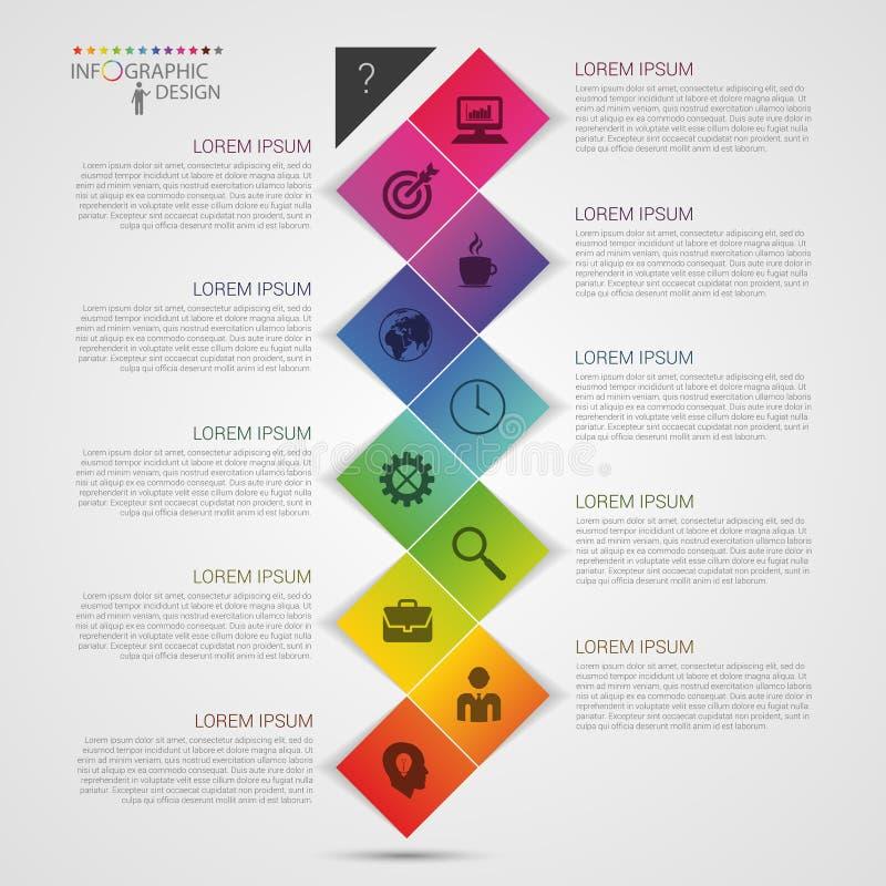 De vlakke kleurrijke abstracte vectorillustratie van chronologieinfographics met rechthoek vector illustratie