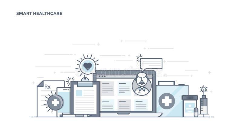 De vlakke Kopbal van het Lijnontwerp - Slimme Gezondheidszorg royalty-vrije illustratie
