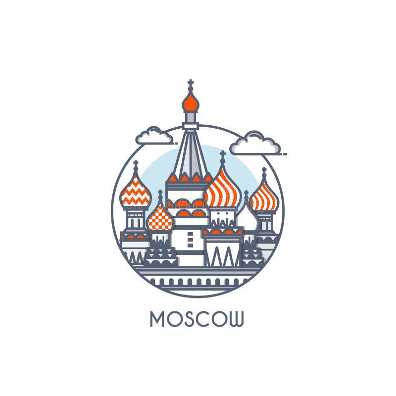 De vlakke lijn deisgned pictogram - Moskou royalty-vrije illustratie