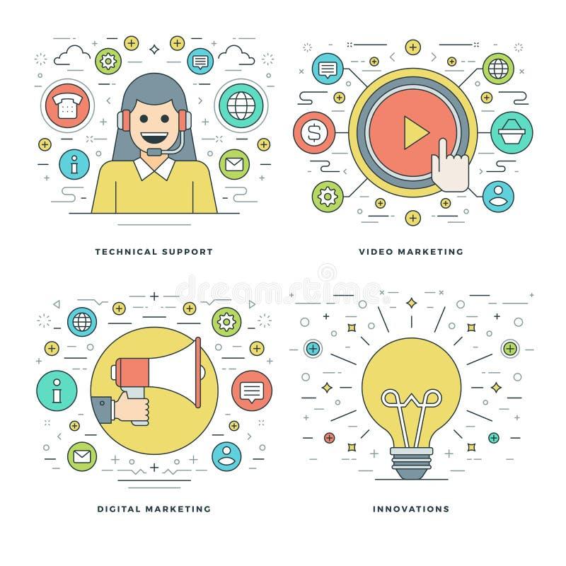 De vlakke lijntechnische ondersteuning, Digitale Marketing, Innovatiesideeën, Bedrijfsconcepten plaatste Vectorillustraties stock illustratie