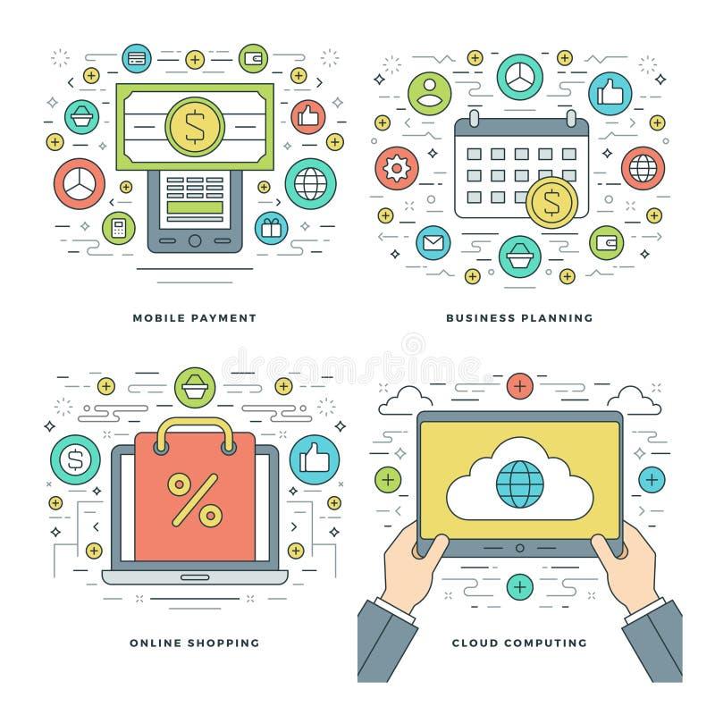 De vlakke lijnwolk die, Internet die, Mobiele Betalingen, Bedrijfsconcepten plaatste Vectorillustraties winkelen gegevens verwerk vector illustratie