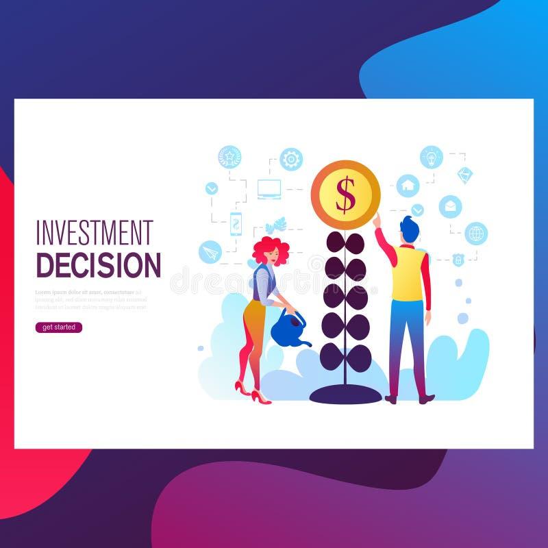 De vlakke malplaatjes van de ontwerpwebpagina van financiën, bedrijfssucces die, investering, online winkelen stock illustratie