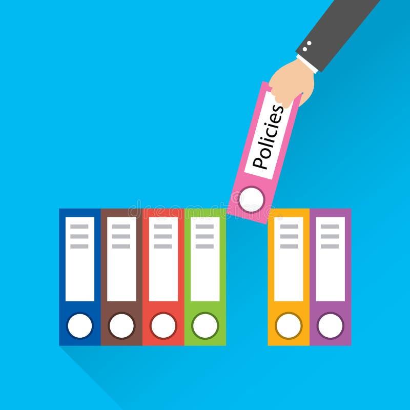 De vlakke moderne vectorillustratie van de ontwerpstijl Omslag met het etiketbeleid vector illustratie