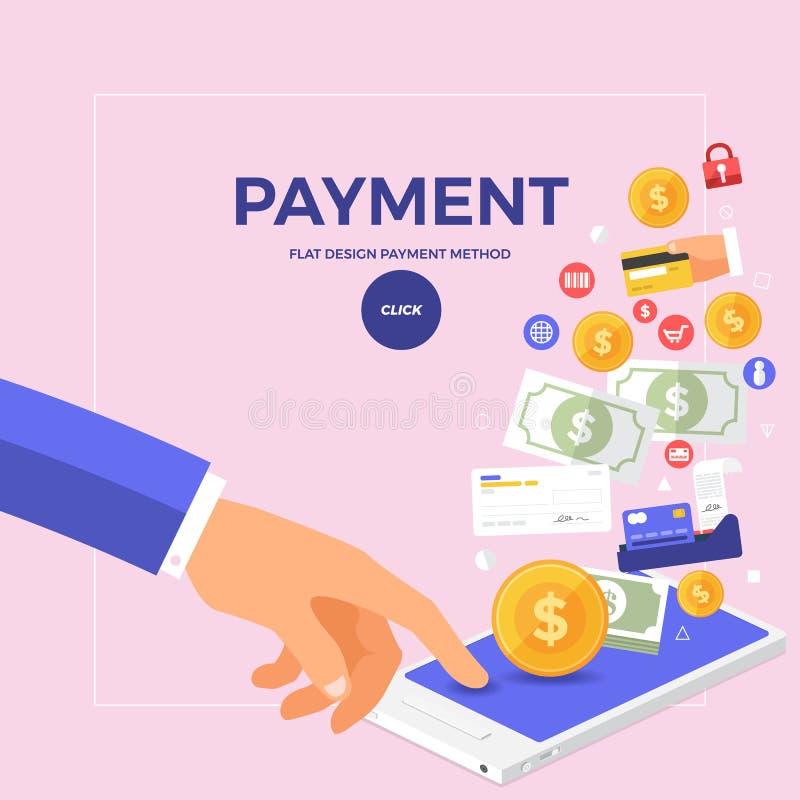 De vlakke online betaling van het ontwerpconcept met klik op mobiel Vector stock illustratie