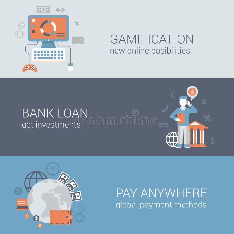 De vlakke online Internet-geplaatste malplaatjes van het pictogrambanners van de bedrijfstechnologiewebsite stock illustratie