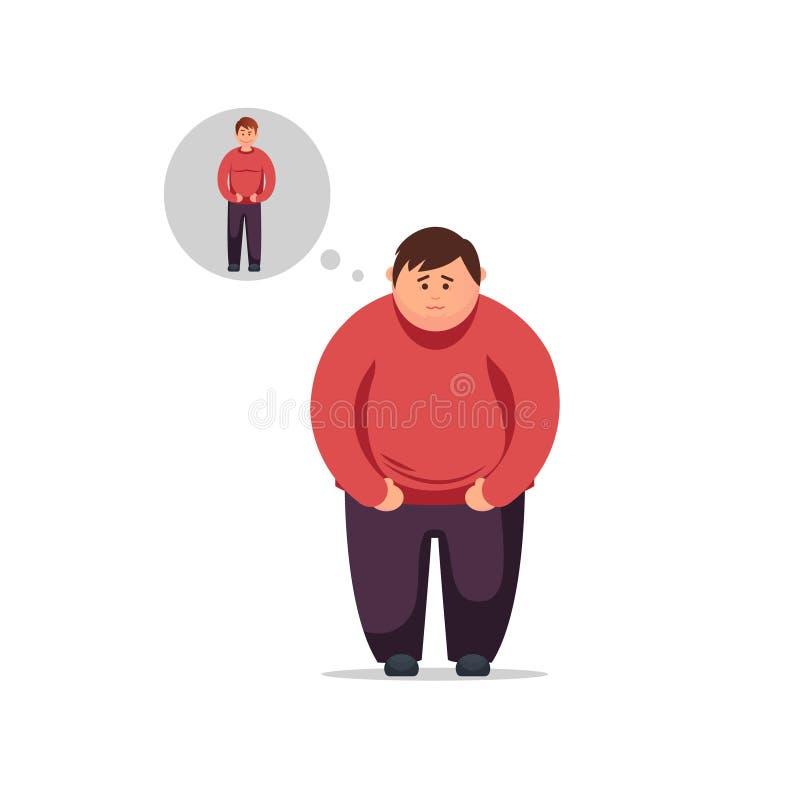 De vlakke ontwerp jonge mens denkt hoe te om gewicht te verliezen en dun te worden stock illustratie