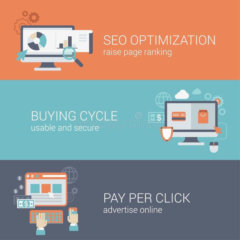 De vlakke optimalisering van de stijlseo website betaalt per klikconcept royalty-vrije illustratie