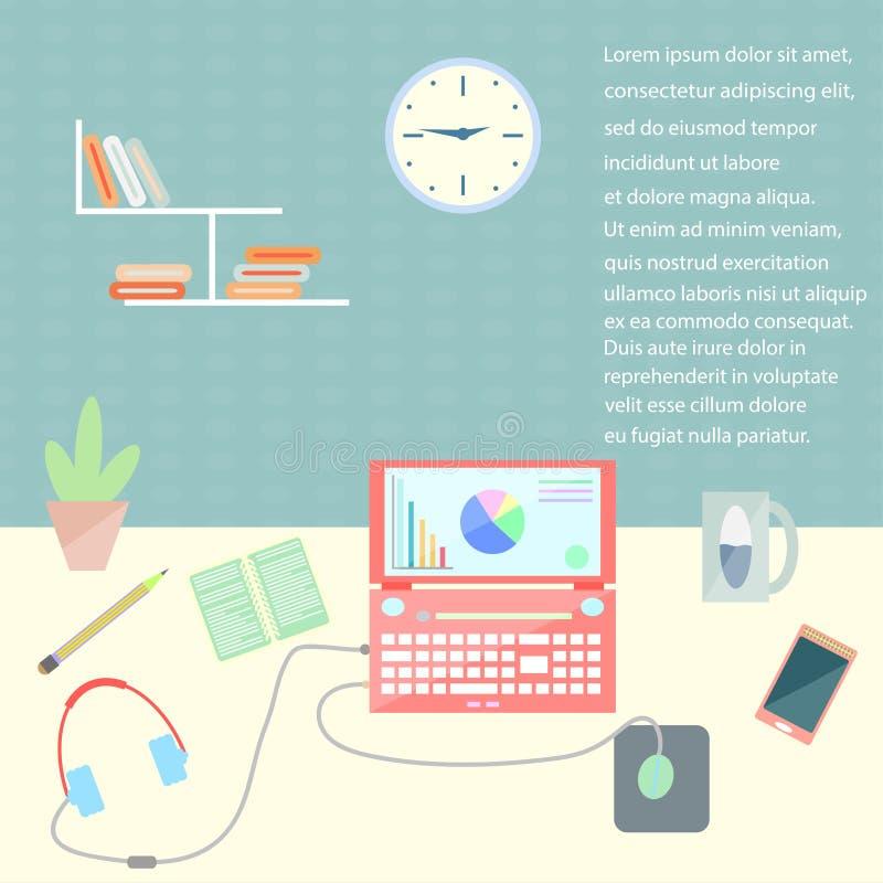 De vlakke organisatie van de ontwerp modieuze vectorillustratie van moderne bedrijfswerkruimte in het bureau royalty-vrije illustratie