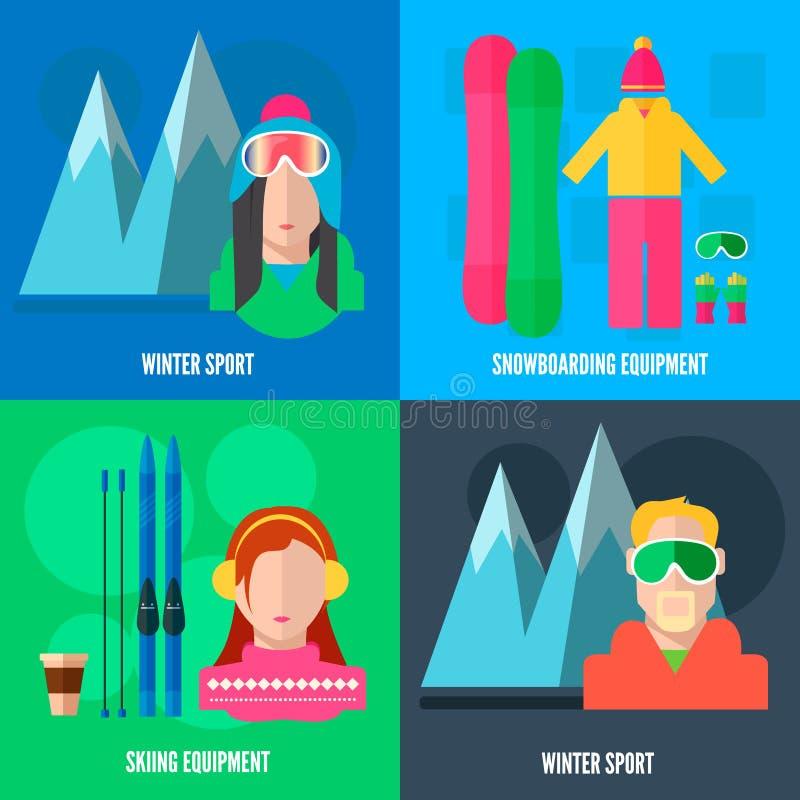 De vlakke pictogrammen van de de wintersport vector illustratie