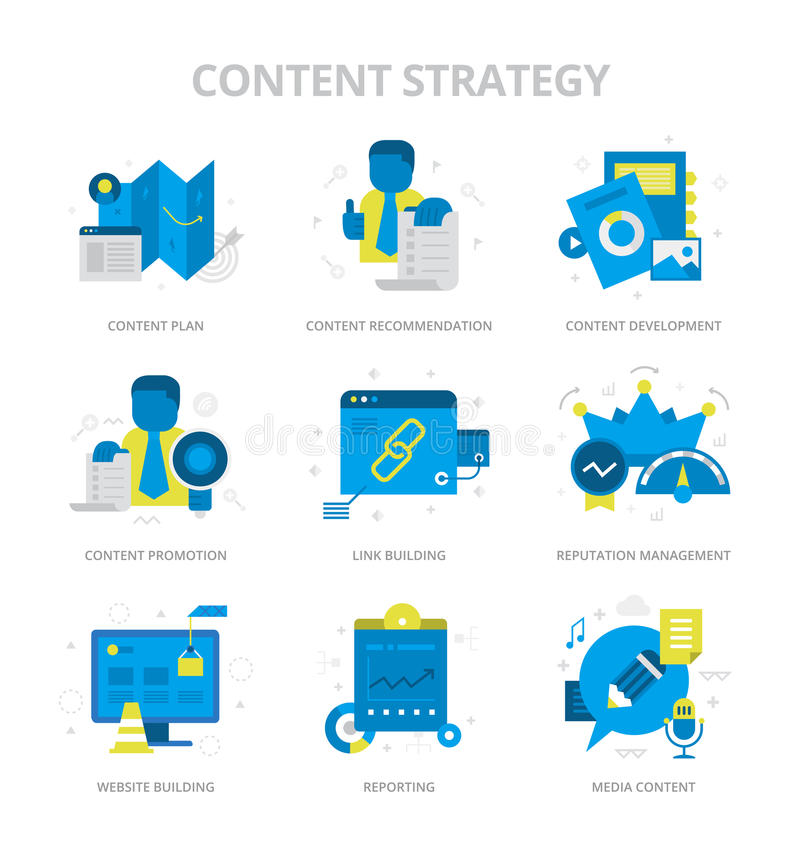 De Vlakke Pictogrammen van de inhoudsstrategie royalty-vrije illustratie