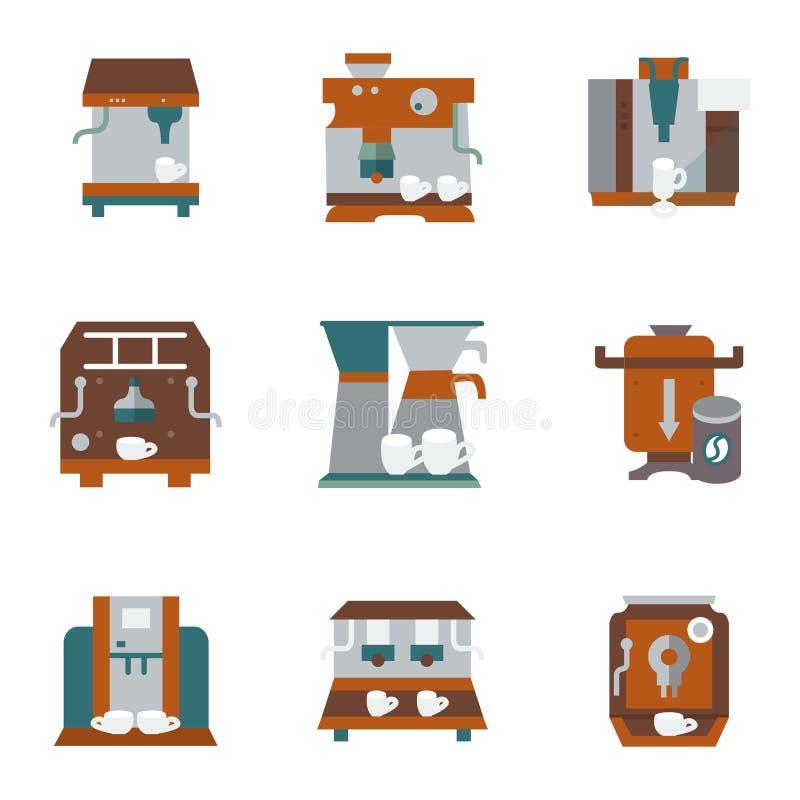 De vlakke pictogrammen van de kleurenstijl voor koffiemateriaal vector illustratie