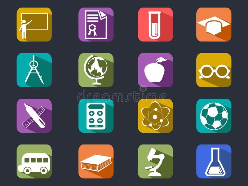 De vlakke pictogrammen van de onderwijs lange schaduw vector illustratie