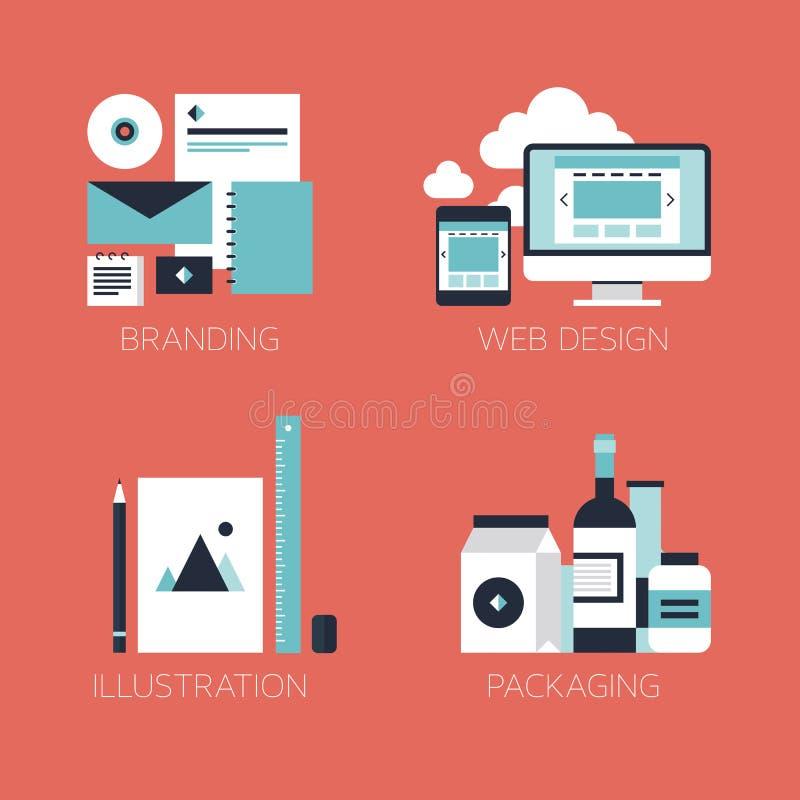 De vlakke pictogrammen van de ontwerp collectieve stijl vector illustratie