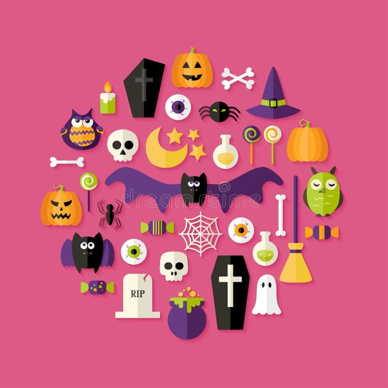 De Vlakke Pictogrammen van Halloween die over Roze worden geplaatst stock afbeelding