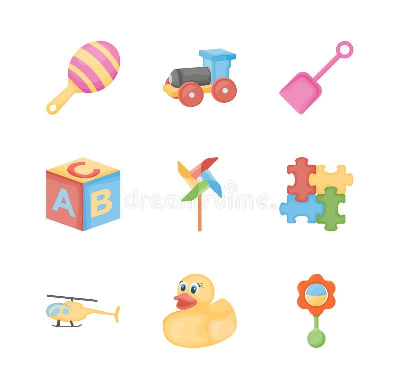 De vlakke pictogrammen van het babyspeelgoed vector illustratie