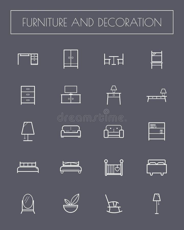 De vlakke Pictogrammen van het Lijnmeubilair vector illustratie