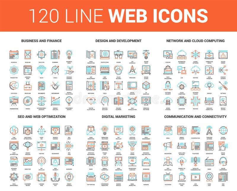 De vlakke Pictogrammen van het Lijnweb stock illustratie