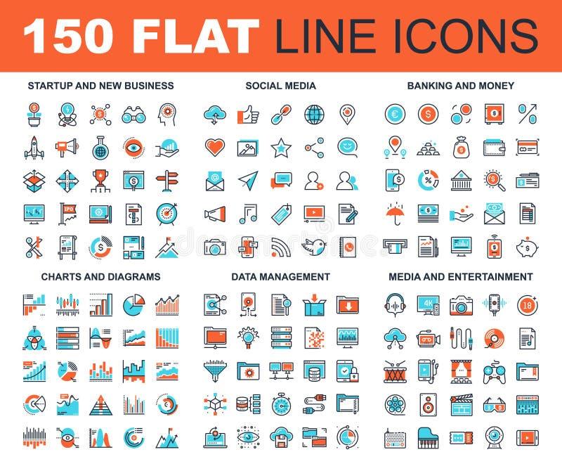 De vlakke Pictogrammen van het Lijnweb vector illustratie