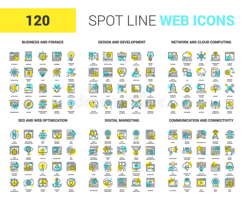 De vlakke Pictogrammen van het Lijnweb royalty-vrije illustratie