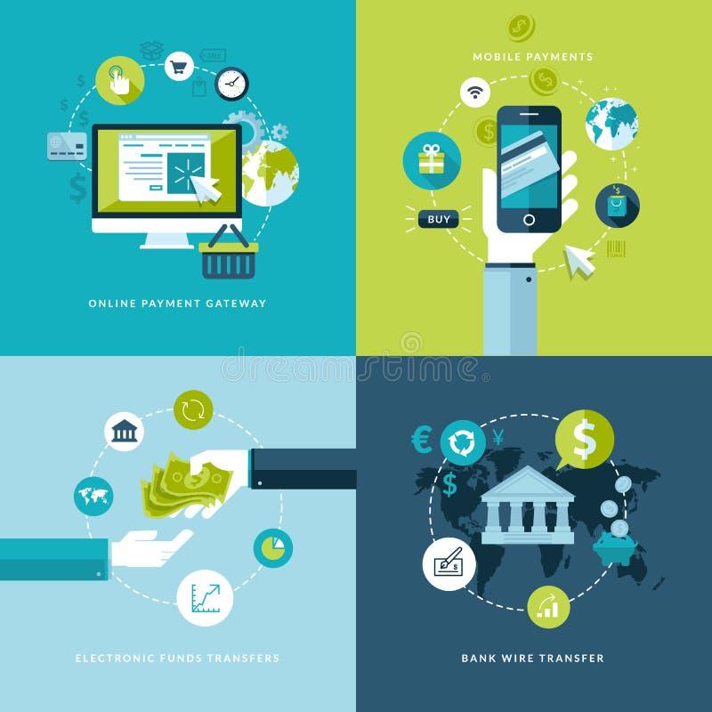 De vlakke pictogrammen van het ontwerpconcept van online betalingsmethodes royalty-vrije illustratie
