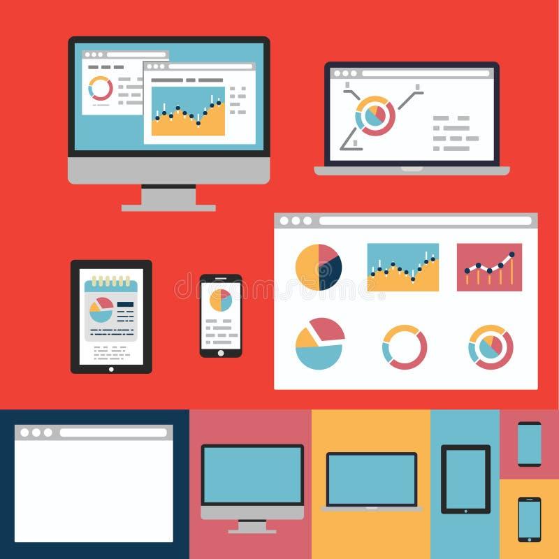 De vlakke pictogrammen van het ontwerpconcept voor Web en de mobiele diensten en apps stock illustratie