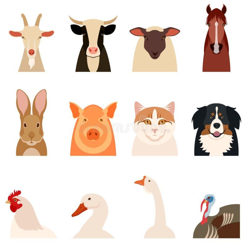 De vlakke pictogrammen van landbouwbedrijfdieren vector illustratie