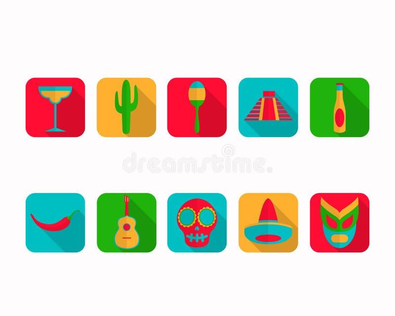 De vlakke Pictogrammen van Mexico stock illustratie